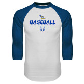 White/Royal Raglan Baseball T Shirt-Baseball Stencil w/ Ball
