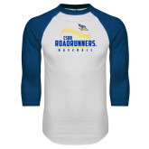 White/Royal Raglan Baseball T Shirt-CSUB Roadrunners Baseball Seam