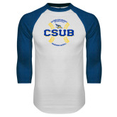 White/Royal Raglan Baseball T Shirt-CSUB Baseball Circle Seams