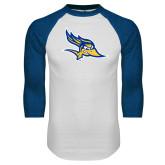 White/Royal Raglan Baseball T Shirt-Primary Logo