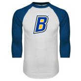 White/Royal Raglan Baseball T Shirt-B
