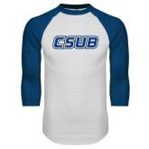 White/Royal Raglan Baseball T Shirt-CSUB