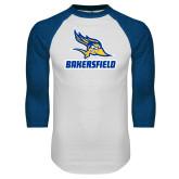 White/Royal Raglan Baseball T Shirt-Roadrunner Head Bakersfield