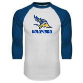 White/Royal Raglan Baseball T Shirt-Volleyball