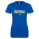 Next Level Ladies SoftStyle Junior Fitted Royal Tee-CSU Bakersfield Softball Stencil