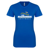 Next Level Ladies SoftStyle Junior Fitted Royal Tee-CSUB Roadrunners Softball Seam