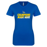 Next Level Ladies SoftStyle Junior Fitted Royal Tee-Champions Made Here Stacked