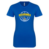 Next Level Ladies SoftStyle Junior Fitted Royal Tee-Roadrunner Basketball Arched w/ Ball