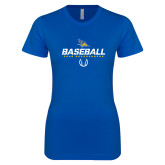 Next Level Ladies SoftStyle Junior Fitted Royal Tee-Baseball Stencil w/ Ball