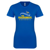 Next Level Ladies SoftStyle Junior Fitted Royal Tee-CSUB Roadrunners Baseball Seam