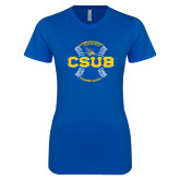 Next Level Ladies SoftStyle Junior Fitted Royal Tee-CSUB Baseball Circle Seams