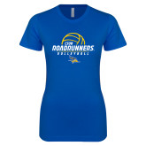 Next Level Ladies SoftStyle Junior Fitted Royal Tee-CSUB Roadrunners Volleyball Stacked