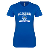 Next Level Ladies SoftStyle Junior Fitted Royal Tee-CSU Bakersfield Roadrunners Arched Volleyball
