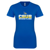 Next Level Ladies SoftStyle Junior Fitted Royal Tee-CSUB Wrestling Stencil
