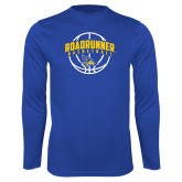 Performance Royal Longsleeve Shirt-Roadrunner Basketball Arched w/ Ball