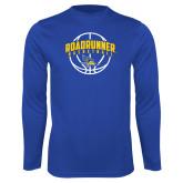 Performance Royal Longsleeve Shirt-Roadrunner Basketball Arched w/ Ball