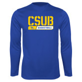 Syntrel Performance Royal Longsleeve Shirt-CSUB Basketball Stencil