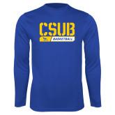 Performance Royal Longsleeve Shirt-CSUB Basketball Stencil