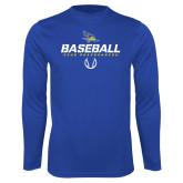 Performance Royal Longsleeve Shirt-Baseball Stencil w/ Ball