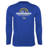 Performance Royal Longsleeve Shirt-CSUB Roadrunners Volleyball Stacked