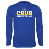 Syntrel Performance Royal Longsleeve Shirt-CSUB Wrestling Stencil