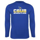 Performance Royal Longsleeve Shirt-CSUB Wrestling Stencil