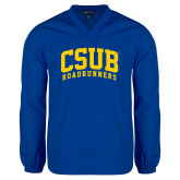V Neck Royal Raglan Windshirt-Arched CSUB Roadrunners