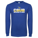 Royal Long Sleeve T Shirt-CSUB Wrestling Stencil
