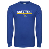 Royal Long Sleeve T Shirt-CSU Bakersfield Softball Stencil