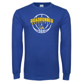 Royal Long Sleeve T Shirt-Roadrunner Basketball Arched w/ Ball