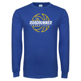 Royal Long Sleeve T Shirt-Roadrunner Basketball Lined Ball