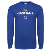 Royal Long Sleeve T Shirt-Baseball Stencil w/ Ball
