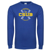 Royal Long Sleeve T Shirt-CSUB Baseball Circle Seams