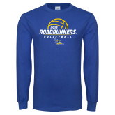 Royal Long Sleeve T Shirt-CSUB Roadrunners Volleyball Stacked