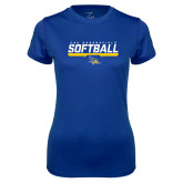 Ladies Syntrel Performance Royal Tee-CSU Bakersfield Softball Stencil