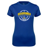 Ladies Syntrel Performance Royal Tee-Roadrunner Basketball Arched w/ Ball