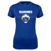 Ladies Syntrel Performance Royal Tee-Roadrunner Wrestling w/ Headgear