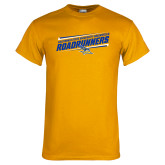 Gold T Shirt-Slanted Roadrunners Stencil w/ Logo
