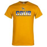 Gold T Shirt-CSUB Splatter Texture