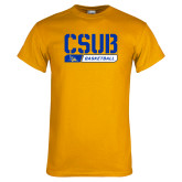 Gold T Shirt-CSUB Basketball Stencil