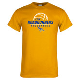 Gold T Shirt-CSUB Roadrunners Volleyball Stacked
