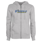 ENZA Ladies Grey Fleece Full Zip Hoodie-CSU Bakersfield Roadrunners