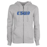 ENZA Ladies Grey Fleece Full Zip Hoodie-CSUB
