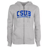 ENZA Ladies Grey Fleece Full Zip Hoodie-Arched CSUB Roadrunners