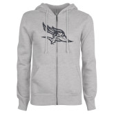 ENZA Ladies Grey Fleece Full Zip Hoodie-Primary Logo Graphite Glitter