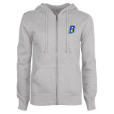 ENZA Ladies Grey Fleece Full Zip Hoodie-B