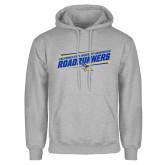 Grey Fleece Hoodie-Slanted Roadrunners Stencil w/ Logo