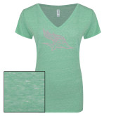 ENZA Ladies Seaglass Melange V Neck Tee-Primary Logo White Soft Glitter