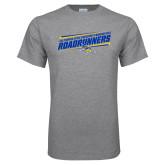 Sport Grey T Shirt-Slanted Roadrunners Stencil w/ Logo