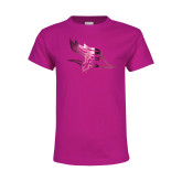 Youth Fuchsia T Shirt-Primary Logo Foil